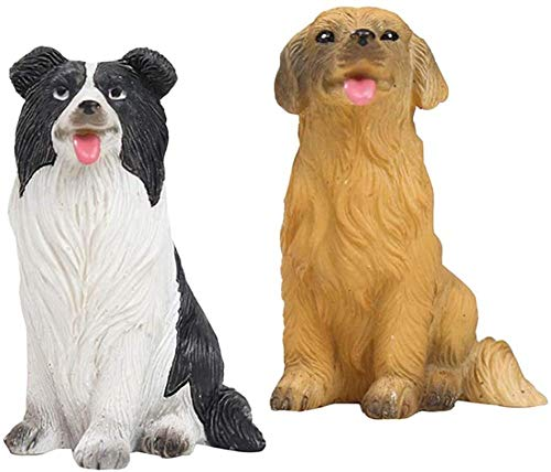 DDGD 2 Pieces Resin Dogs Statue Home Desktop Decor Figurines Ornament Trinkets