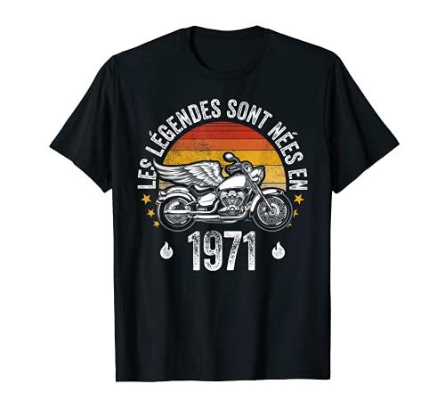 Vintage Humour Motards Idée cadeau moto homme né en 1971 T-Shirt