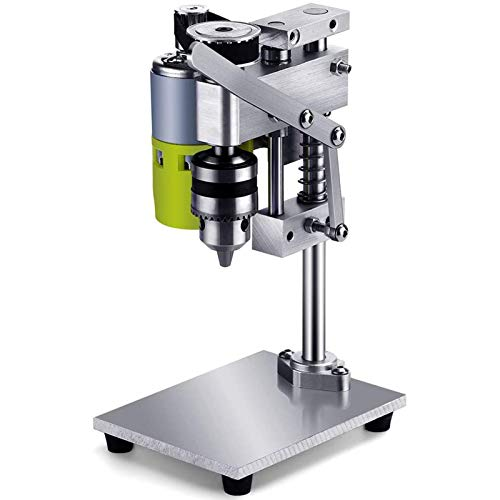 SIRUL Taladro De Columna, Mini Taladro eléctrico de Banco de Aluminio, Mini Taladro con regulación de Velocidad de 7 Niveles, portabrocas de 1,5-10 mm Profesional DIY Puro Taladro de Alta precisión