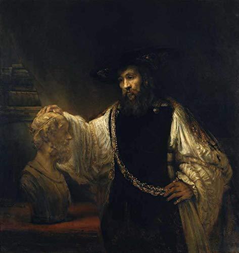 Aristóteles Contemplando um Busto de Homero (1653) de Rembrandt - 50x52 - Tela Canvas Para Quadro
