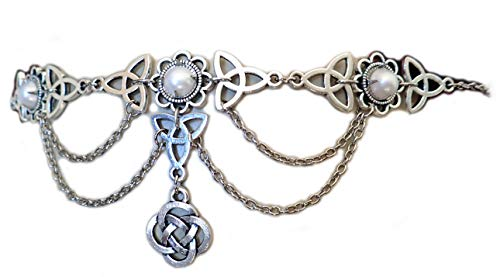 Moon Maiden Jewelry Celtic Triquetra Trinity Knot Draping Chain Headpiece Pearl