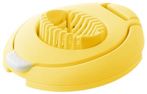 Fackelmann Eischneider DUO, Eierschneider zum Schneiden von Scheiben und Sechstel, Mozzarellaschneider mit Drähten aus Edelstahl (Farbe: Gelb/Weiß), Menge: 1 Stück