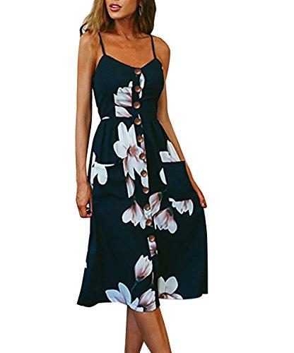 Yieune Sommerkleider Damen Casual Cocktailkleid Ärmellos Blumenmuster Kurzarm Strandkleid Party Abendkleid (Marine S)
