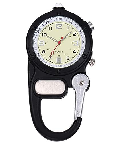 XLH Mosquetón Clip Reloj Luz LED Enfermera Reloj Climb Mountain Relojes Deportivos Al Aire Libre Reloj De Bolsillo Montañismo Equipo Deportivo