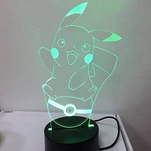 Luz de noche 3D Acción de Pokémon Pikachu Sin marca 7 colores Decoración Luz de mesa Ilusión óptica Cambio con control remoto Regalos de cumpleaños para