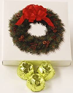 Scott's Cakes White Chocolate Covered Red Strawberry Marzipan Candies with Chartreuse Foils in a 1 Pound Wreath Box