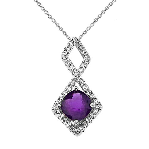 Mod-Chic Infinity Genuine Checkerboard Amethyst Pendant Necklace Necklace in 9 ct White Gold (Available Chain Length 16'- 18'- 20'- 22') C
