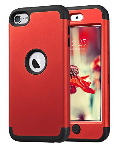 ULAK Cover per iPod Touch - Cover iPod Touch 6 Custodia Ibrida a Protezione Integrale con Parte Esterna in 3 Strati di Morbido Silicone e Interno Rigido per Apple iPod Touch 6/5 Generation (Rosso)