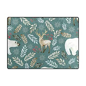 La Random Large Soft Rug 80×58 Inches Deer and Bear Non-Skid Lightweight Nursery Yoga Rugs Floor Play Mat for Kids Playing Room Living Room Bedroom