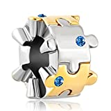 Q&Locket Matching Puzzle Piece Charm Autism Awareness Beads for Bracelets (Sep Blue)