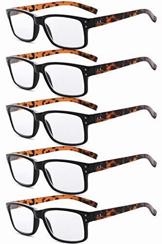Eyekepper Mannen Vintage Lezen Brillen - 5 Stuks Leesbrillen voor Heren Dames - Schildpad Lijst Zonder Sterkte