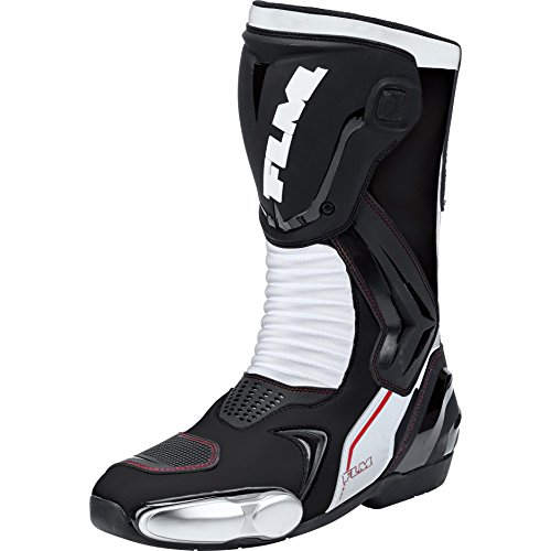 FLM Motorradschuhe, Motorradstiefel lang Sports Stiefel, schnelltrocknendes Futter, hochschlagfeste Schienbeinplatte, Einstellbarer Klett, elastische und griffige Gummisohle, schwarz/weiß, 36