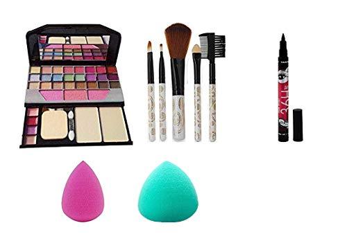 AVEU TYA Makeup kit + 5 pcs Makeup Brush + 2 pc Blender Puff And Eyeliner pen Combo