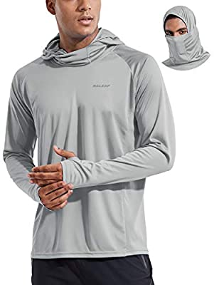 BALEAF Men's Long Sleeve UPF 50+ Hoodie Fishing Shirts Sun Protection Lightweight SPF Quick Dry Hiking Workout Shirt Gray Size L