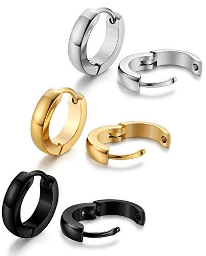 Jstyle Jewelry 3 Pairs Stainless Steel Hoop Earring for Men Women Huggie Ear Piercings Set