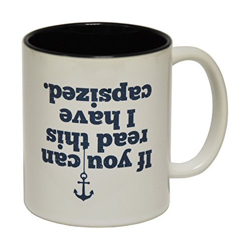 123t Funny Mugs - Ocean Bound If You Can Read This I Have Capsized - Sail Sailing Boat Ship Fishing BLACK INNER TWO TONE NOVELTY MUG secret santa present BOXED