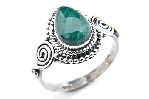 Ring Silber 925 Sterlingsilber Malachit grün Stein (Nr: MRI 73), Ringgröße:48