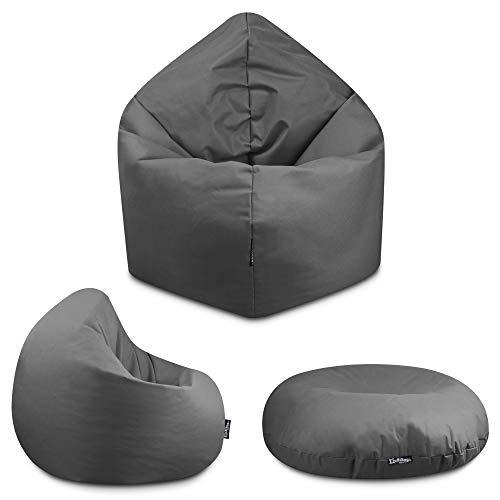 2in1 Sitzsack Bodenkissen Outdoor Sitzsäcke Indoor Beanbag in 32 Farben & 3 Größen wählbar Sitzkissen Kinder Yoga Kissen Erwachsene Schule Kindergarten (Anthrazit-125 cm)