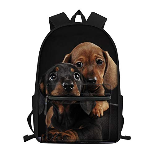Showudesigns Animal Print Backpack School Bags Dog Dachshund Print Kids Boy Elementary Middle School Small Travel Hiking Sports Bookbags Durable
