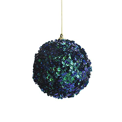 Homeford Sequined Ball Christmas Ornament, Peacock, 4-Inch