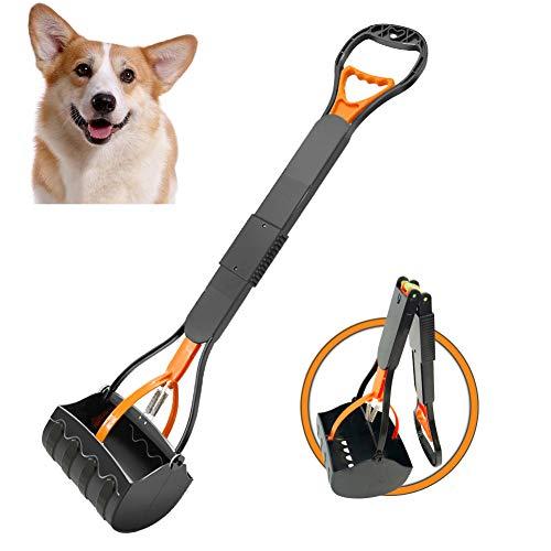 HEAPETBON 80cm Fold Pet Pooper Scooper für große Hunde mit langem Griff für einfaches Aufnehmen von Gras und Kies, orange