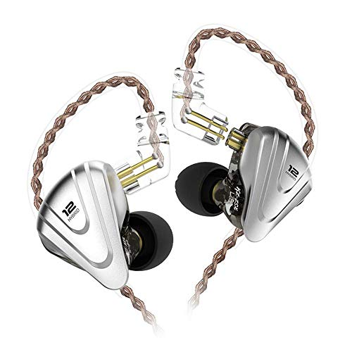 KZ ZSX 5BA + 1DD 6 Driver Híbrido en la oreja los auriculares de alta fidelidad con placa frontal de aleación de zinc, cable desmontable de 0,75 mm y 2 pines
