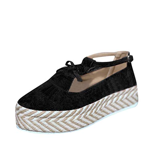 Review KCPer Platform Loafers,Women's Tassel Round Toe Hollow Out T-Strap Wedge Sandals Buckle Ankle...