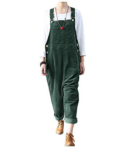 Ladyful Women's Bib Corduroy Overalls Pant Romper Jumpsuit Trouser with Adjustable Straps (Green, XL)
