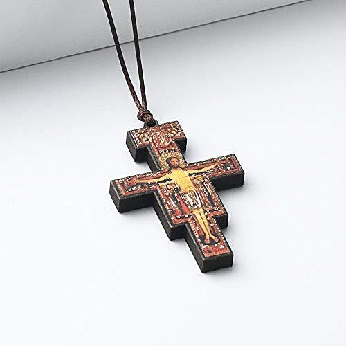 Naswi Collares con Colgante De Cruz De Madera Ortodoxa para Mujeres Y Hombres, Collar Religioso, Cadenas De Cuerda De Cuero Ajustables, Joyería De Oración, Collier