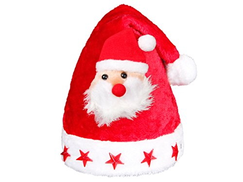 Alsino Bonnet de Noël pour adulte wm-46a lumineux avec péluche tête du père noel et 5 étoiles à LED clignotante lux très classe bouton on/off