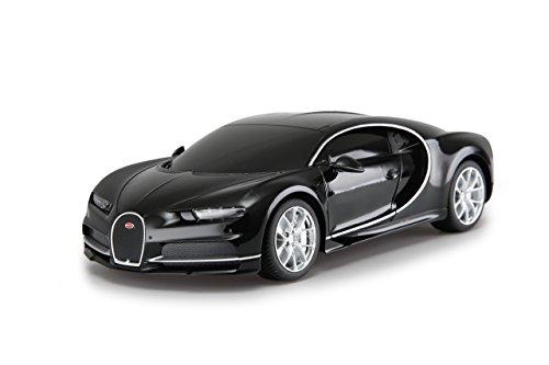 Jamara 405136 Bugatti Chiron 1:24 schwarz 27MHz - RC Auto, offiziell lizenziert, bis zu 1 Std Fahrzeit bei ca. 7 Km/h, perfekt nachgebildete Details, hochwertige Verarbeitung