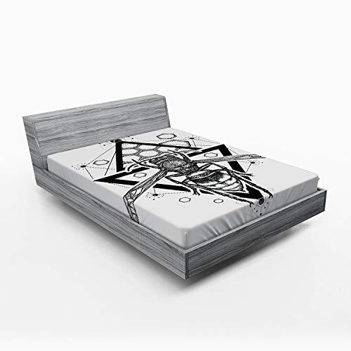 ABAKUHAUS Bijenkoningin Hoeslaken, Patroon van de Bijenkorf Bug, Zachte Decoratieve Stof Beddengoed, Elastische Band Rondom, 150x 190 cm, Zwart wit