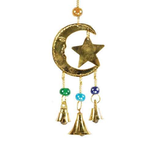 Windspiel mit drei Glocken, Stern und Mond, Messing, für Wicca, Heidnisch, New Age, Göttin, Pentagramm, Chakra, Spiritualität