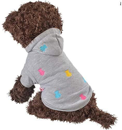 LeerKing Chaqueta Invierno Perro Sudadera con Capucha Traje Corto Abrigo de Invierno con Forro para Perros Pequeños y Medianos, Gris XS