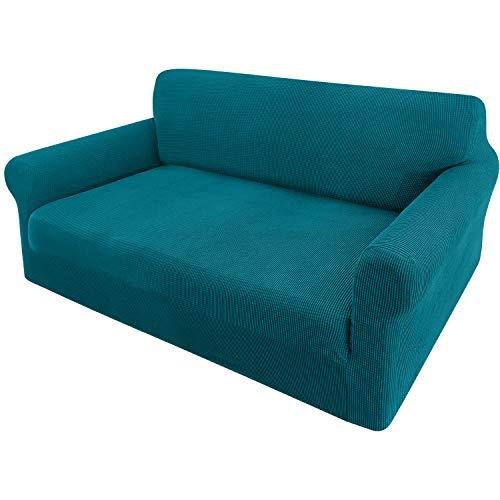 Granbest Funda de sofá extensible Jacquard 1 pieza funda de sofá de 2 plazas con reposabrazos funda de sofá (2 plazas), color azul y verde