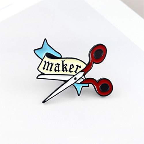 JTXZD Broche Schaar Doek MAKER Broche Kleding Banner maken Schaar Perfect Emaille Lapel Pin Rugzak Hoed Badge Moeder Harde Werker s