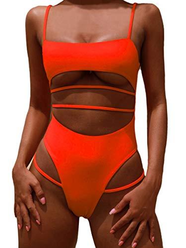 MOPOOGOSS Ladies Plus Size High Cut High Waisted Swimsuits for Women Sexy Underboob Bikini Spaghetti Strap Slim Fit One Piece Bikini Swimwear Orange Medium