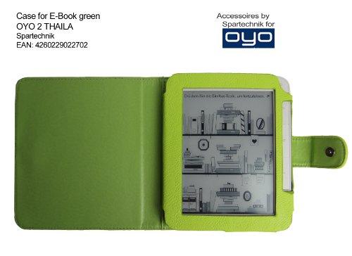 Spartechnik Grüne Tasche für OYO 2 WLAN - bestes Case Ledertasche* für Thalia OYO2 E-Book Reader von Thalia Buch BOL & Medion Life P6212 MD 98900 - Elektronisches Buch - lindgrün grün