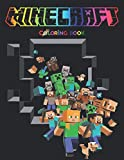 MINECRAFT COLORING BOOK: +55 High Quality Illustrations Minecraft Drawing Book Kids, +55 colouring pages,Amazing Drawings - All Characters , Weapons & Other...