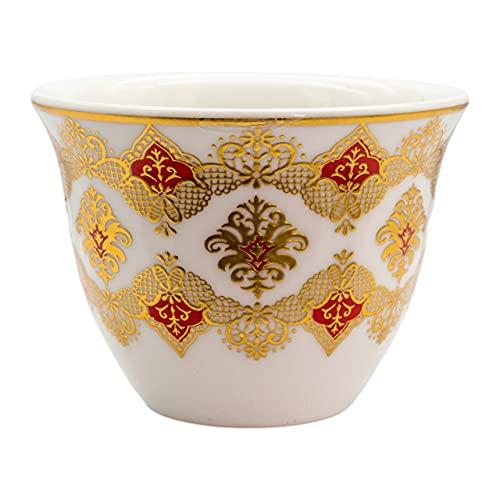 Alibabashop Baba Gourmet Arabische Mokkatasse mit Gold-Roter Verzierung 6er-Set