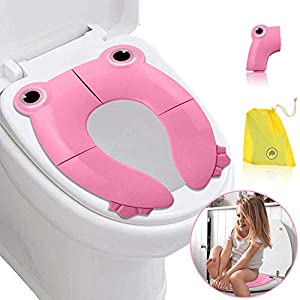 SaponinTree Asiento de Inodoro Plegable, Plegable Viajes Potty Asiento Inodoro Reductor Infantil como Protector, Practico Fácil de Plegar WC Adaptador pare Casa,