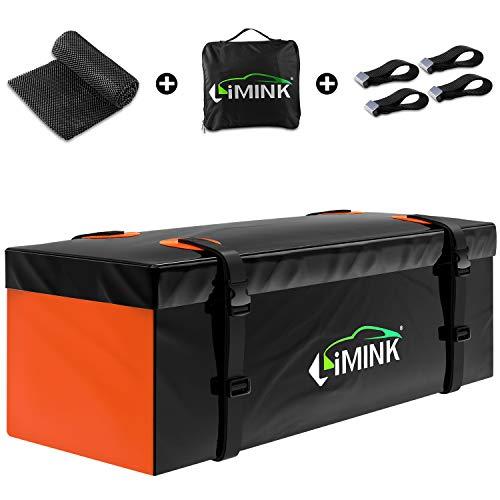 LIMINK - Cofre de techo para coche, 15 pies cúbicos, resistente al agua, plegable, adecuado para todos los vehículos con/sin portaequipajes, transporte de equipaje