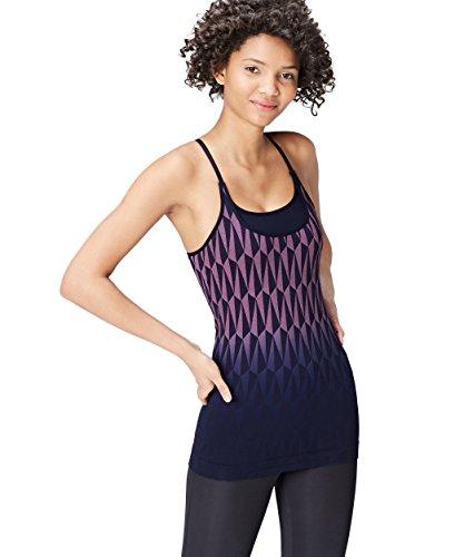 Activewear Top Estampado de Deporte con Sujetador Mujer , Azul (Navy/lilac), 40 (Talla del fabricante: Medium)