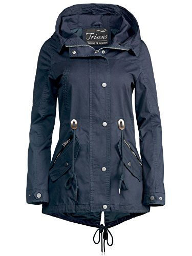 Trisens Damen Jacke ÜBERGANGSJACKE Trenchcoat Kapuze 100% Baumwolle LEICHT KURZ, Farbe:Dunkelblau, Größe:M