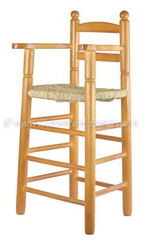 Cesteria Aparici Trona de Madera acabado Miel - Largo: 34cm - Ancho: 37cm - Alto Asiento: 57cm - Alto Respaldo 85cm