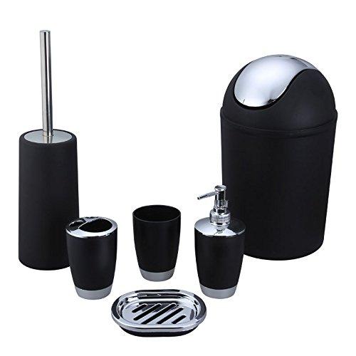 Alician - Juego de 6 botes de basura, dispensador de líquido, caja de jabón, soporte para cepillo de dientes, para baño, color negro