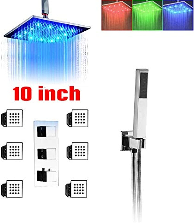 LWSFZAS LED Licht Thermostat Duscharmaturen Farbe Chang 16 Duschkopf Drehen Massage Sprühdüsen Brausebatteriesystem mit HandbrauseDecke 10ZollKopf
