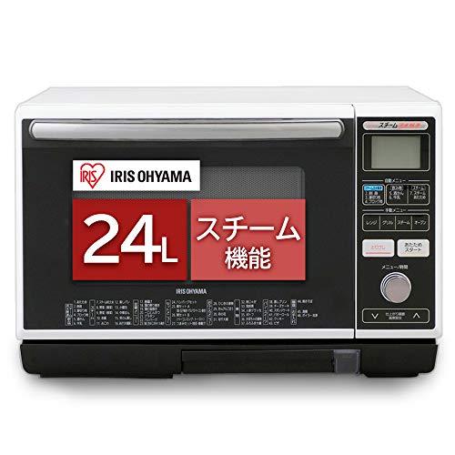 アイリスオーヤマ スチームオーブンレンジ 24L タンク式 フラットテーブル ヘルツフリー 自動メニュー トー...