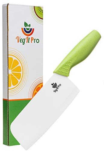 VegItPro Kitchen Knife Eco Friendly Gifts Ceramic Knife with Wheat Straw Anti Slip Ergonomic Handle Cleaver Knife and Vegetable Cleaver Specialty Knife