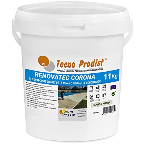 RENOVATEC CORONA di Tecno Prodist - (11 kg Bianco sabbia ), vernice per ristrutturazione bordi di piscine o pietra di coronazione, antiscivolo, antialghe, facile applicazione